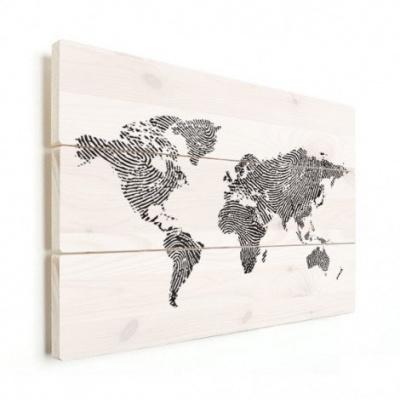 Wereldkaart Fingerprints Zwart - Horizontale planken hout 90x60