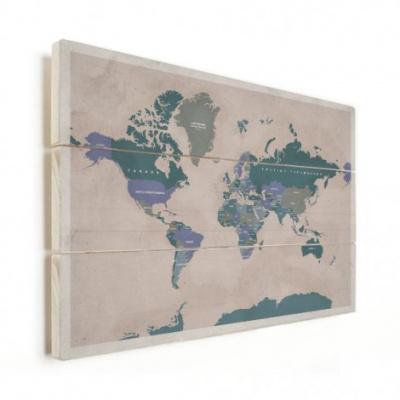 Wereldkaart Aardrijkskundig Groentinten Diagonale Strepen - Verticale planken hout 120x80
