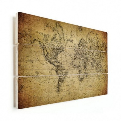 Wereldkaart Back In The Day - Horizontale planken hout 90x60
