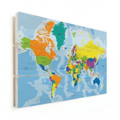 Wereldkaart Aardrijkskundig Harde Kleuren - Horizontale planken hout 90x60