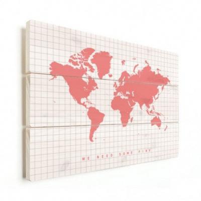 Wereldkaart We Need Some Pink - Verticale planken hout 90x60