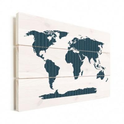 Wereldkaart Kruisjespatroon Blauw - Verticale planken hout 80x60