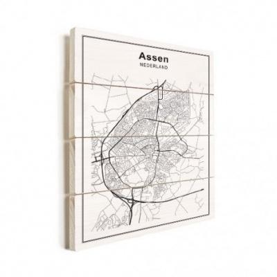 Stadskaart Assen - Horizontale planken hout 60x80