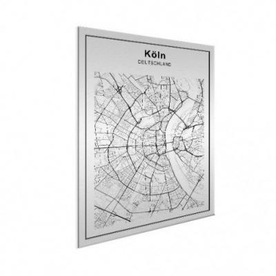 Stadskaart Keulen - Wit aluminium 50x70
