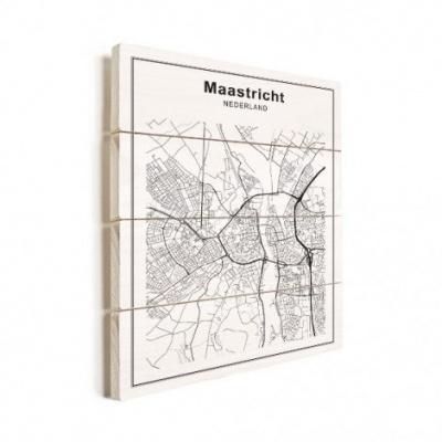 Stadskaart Maastricht - Verticale planken hout 60x80