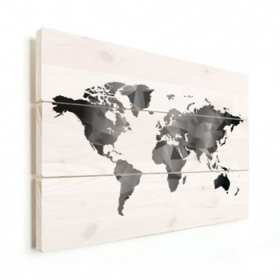 Wereldkaart Geometrische Vakken Wit - Verticale planken hout 90x60