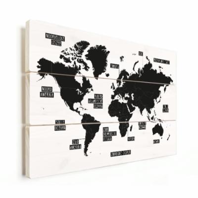 Wereldkaart Zwart Gebiednamen - Horizontale planken hout 80x60