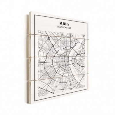 Stadskaart Keulen - Verticale planken hout 50x70