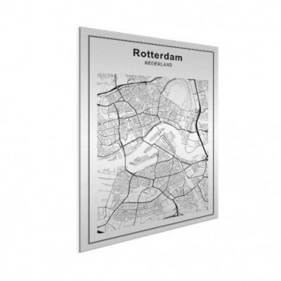 Stadskaart Rotterdam - Wit aluminium 30x40
