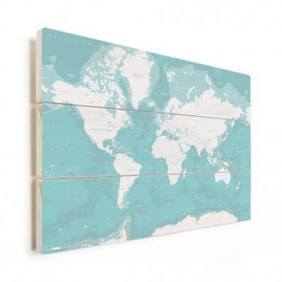 Wereldkaart Pastel Zee Winter - Horizontale planken hout 80x60