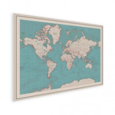 Wereldkaart Aardrijkskundig Rode Grenzen - Houten plaat 120x80