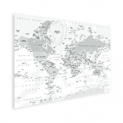 Wereldkaart Landen Grijstint - Houten plaat 80x60