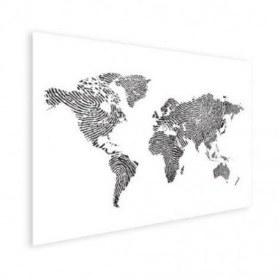 Wereldkaart Fingerprints Zwart - Houten plaat 80x60