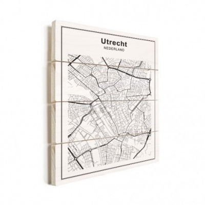 Stadskaart Utrecht - Horizontale planken hout 60x80