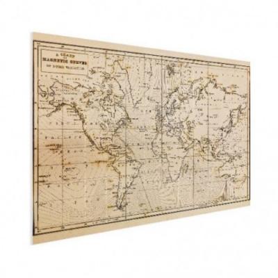 Wereldkaart Magnetische Curven - Houten plaat 80x60