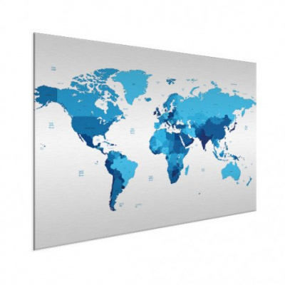Wereldkaart Blauwtinten - Geborsteld aluminium 100x50