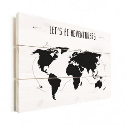 Wereldkaart Let's Be Adventurers Zwart - Verticale planken hout 40x30