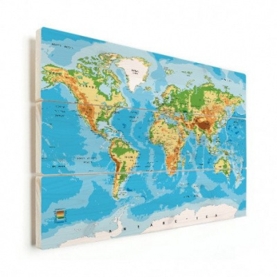 Wereldkaart Klassiek - Horizontale planken hout 120x80