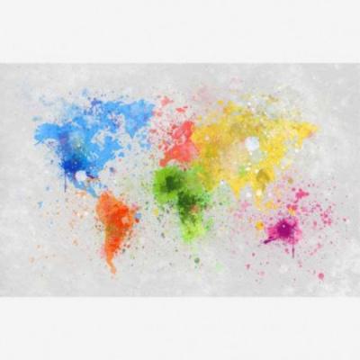 Wereldkaart Atristiek Gekleurde Verfspatters - Houten plaat 40x30