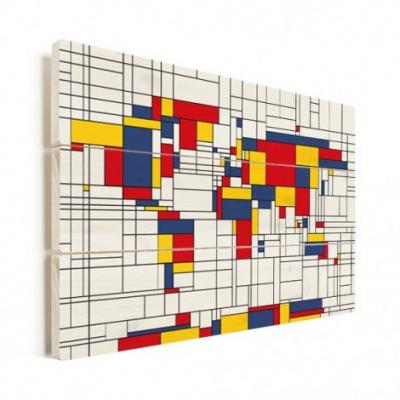 Wereldkaart Mondriaan - Verticale planken hout 40x30