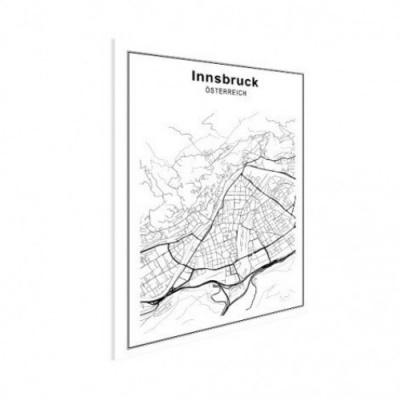 Stadskaart Innsbruck - Houten Plaat 60x80