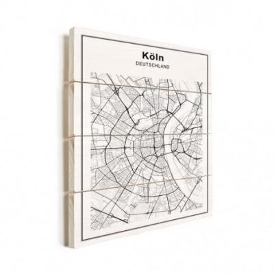 Stadskaart Keulen - Verticale planken hout 60x80