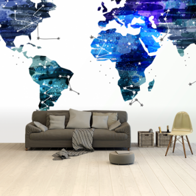 Wereldkaart Artistiek Nachtkleuren - Airtex behang 265x400