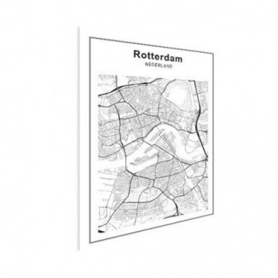 Stadskaart Rotterdam - Houten Plaat 60x80