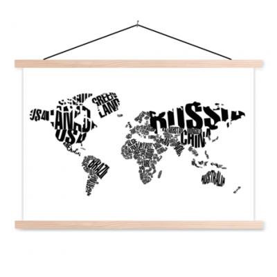 Wereldkaart Landmassa In Letters Zwart - Schoolplaat 60x40