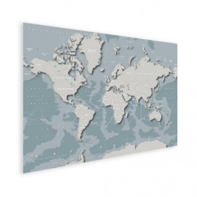 Wereldkaart Perspectief Blauwtint - Poster 40x30