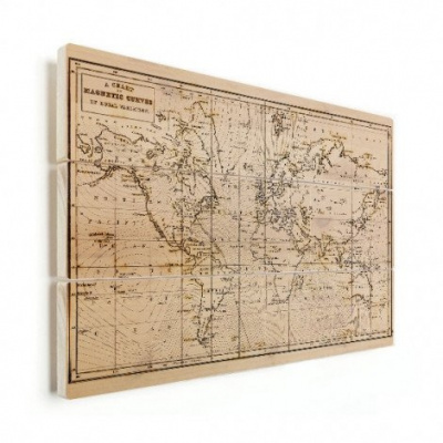 Wereldkaart Magnetische Curven - Verticale planken hout 90x60