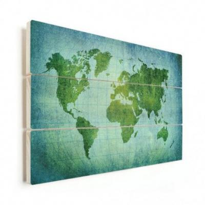 Wereldkaart Vervaagd Groen - Horizontale planken hout 40x30
