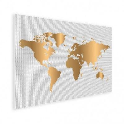 Wereldkaart Golden Waves - Houten plaat 40x30