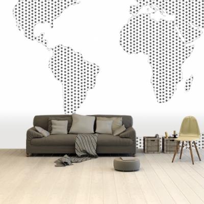 Wereldkaart Kruisjespatroon Zwart - Airtex behang 265x350