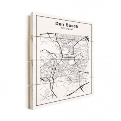 Stadskaart Den Bosch - Verticale planken hout 30x40