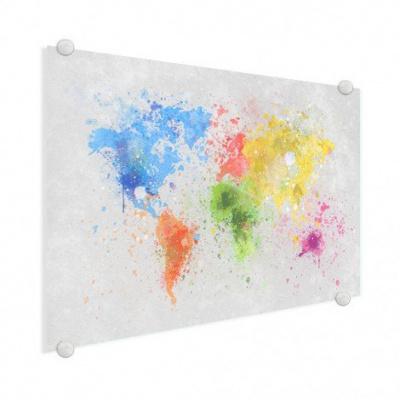 Wereldkaart Atristiek Gekleurde Verfspatters - Plexiglas 100x50