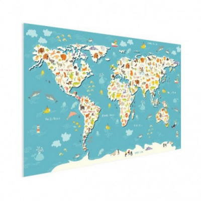 Wereldkaart Spot Alle Dieren - Poster 160x80