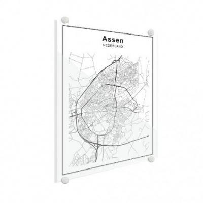 Stadskaart Assen - Plexiglas 30x40
