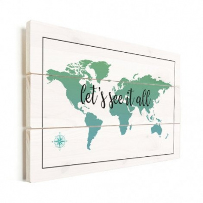 Wereldkaart Let's See It All Groen - Horizontale planken hout 120x80