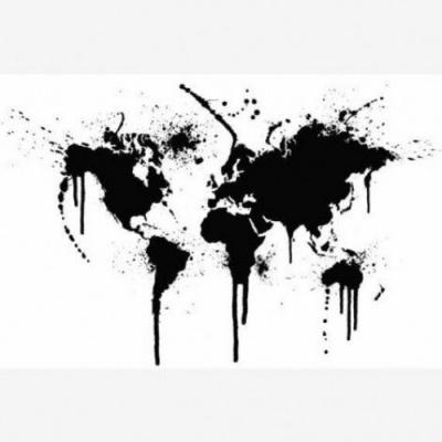 Wereldkaart Artistieke Spots - Houten plaat 80x60