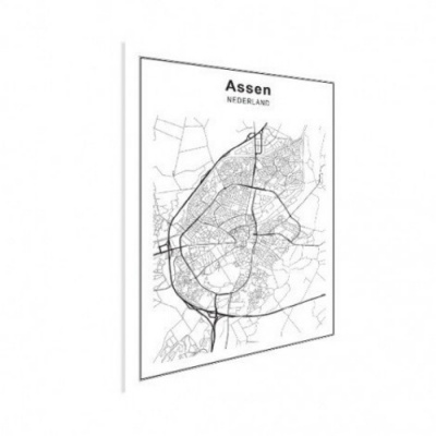 Stadskaart Assen - Houten Plaat 60x80