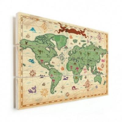 Wereldkaart Van Vroeger - Horizontale planken hout 80x60
