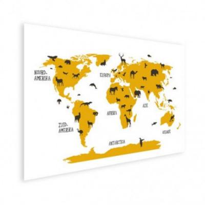 Wereldkaart Dieren Per Continent Geel - Houten plaat 120x80