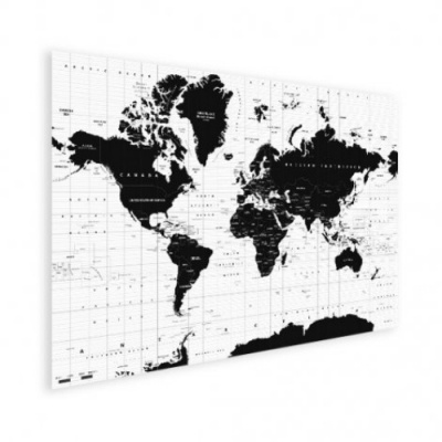 Wereldkaart Zwart Aardrijkskundig - Houten plaat 40x30