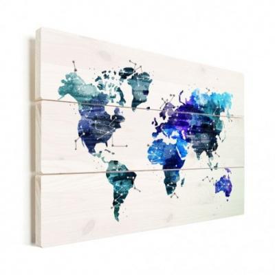 Wereldkaart Artistiek Nachtkleuren - Horizontale planken hout 80x60