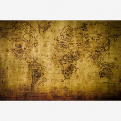 Wereldkaart Getekend - Houten plaat 80x60