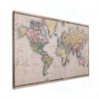 Wereldkaart Aardrijkskundig Terrein - Houten plaat 60x40