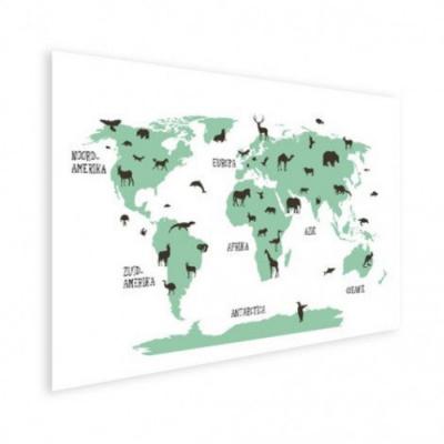 Wereldkaart Dieren Per Continent Groen - Houten plaat 40x30