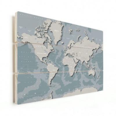 Wereldkaart Perspectief Blauwtint - Horizontale planken hout 80x60