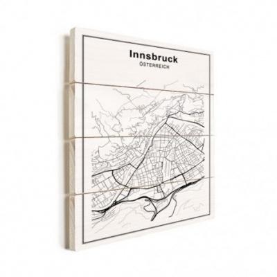 Stadskaart Innsbruck - Verticale planken hout 50x70